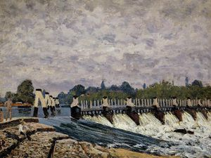 Alfred Sisley - Molesey 堰 - 上午