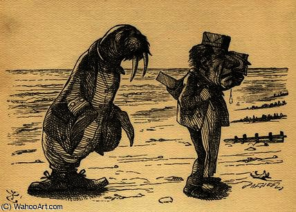 海象与木匠 通过 John Tenniel (1820-1914, United Kingdom)