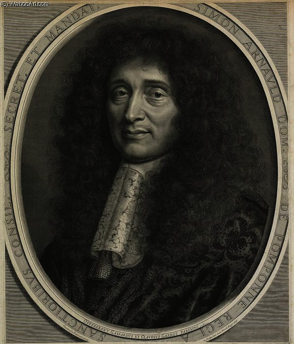 肖像 西蒙 阿尔诺 , 侯爵 德 Pomponne 通过 Robert Nanteuil (1623-1678, France) | 畫再現 | WahooArt.com