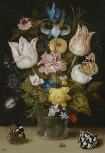 Ambrosius Bosschaert The Elder - 鲜花在玻璃花瓶花束(1612)(阿姆斯特丹,比吉布斯博物馆)