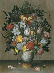 Ambrosius Bosschaert The Elder - 中国花瓶与花(约(68,6 x 50,8)(马德里)(1609))