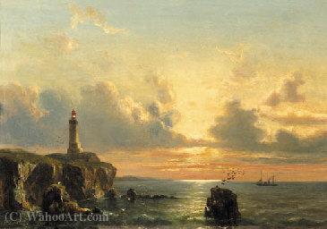 """""""一棵沿海景观与灯塔在日落"""" 通过 everhardus koster"""