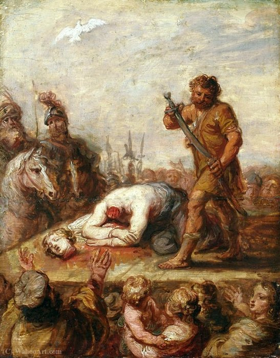 斩首女人_素描的圣女人的斩首 通过 Abraham Van Diepenbeeck (1596-1675, Netherlands ...