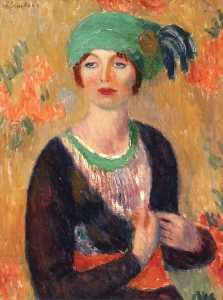 William James Glackens - 女孩绿色 头巾