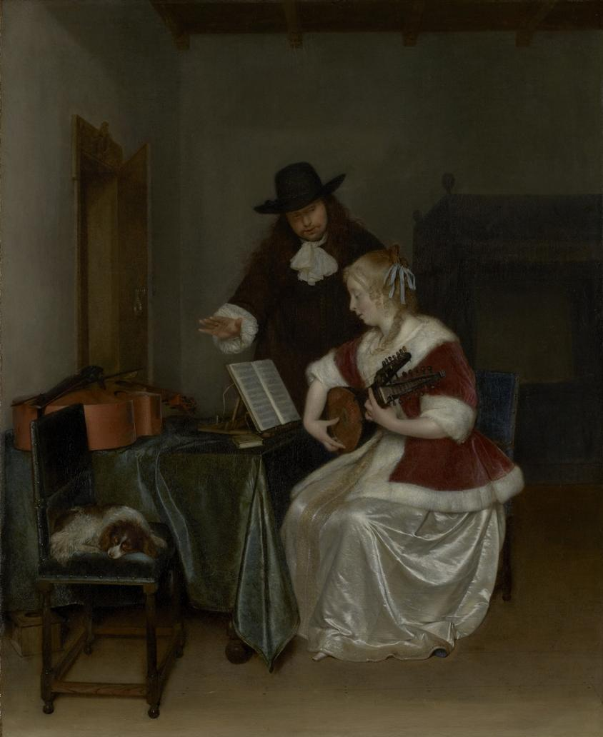 音乐课, 1668 通过 Gerard Ter Borch The Younger (1617-1681, Netherlands) | 畫複製 Gerard Ter Borch The Younger | WahooArt.com
