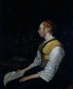 Gerard Ter Borch The Younger - 女孩在农民服装