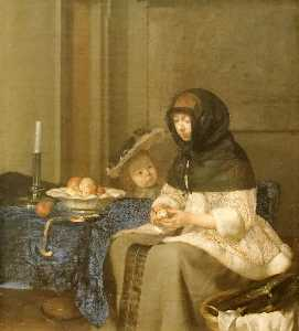 Gerard Ter Borch The Younger - 啦 Peleuse 德 Pommes ( 也被称为 女子剥皮 苹果 )