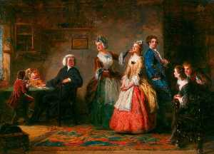William Powell Frith - 测量 高度 ( 从 奥利弗 Goldsmith's 'The 牧师 的 Wakefield' )