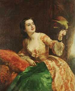 William Powell Frith - 绿色的 鹦鹉