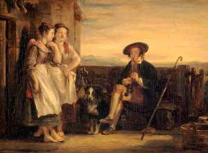 David Wilkie Wynfield - 场景 从 Ramsay's 'The 温和 Shepherd'