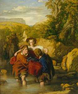 顺序 手工畫 : 福特 ( `Crossing 的 Ford` ), 1842 通过 William Mulready The Younger (1786-1863, Ireland) | WahooArt.com