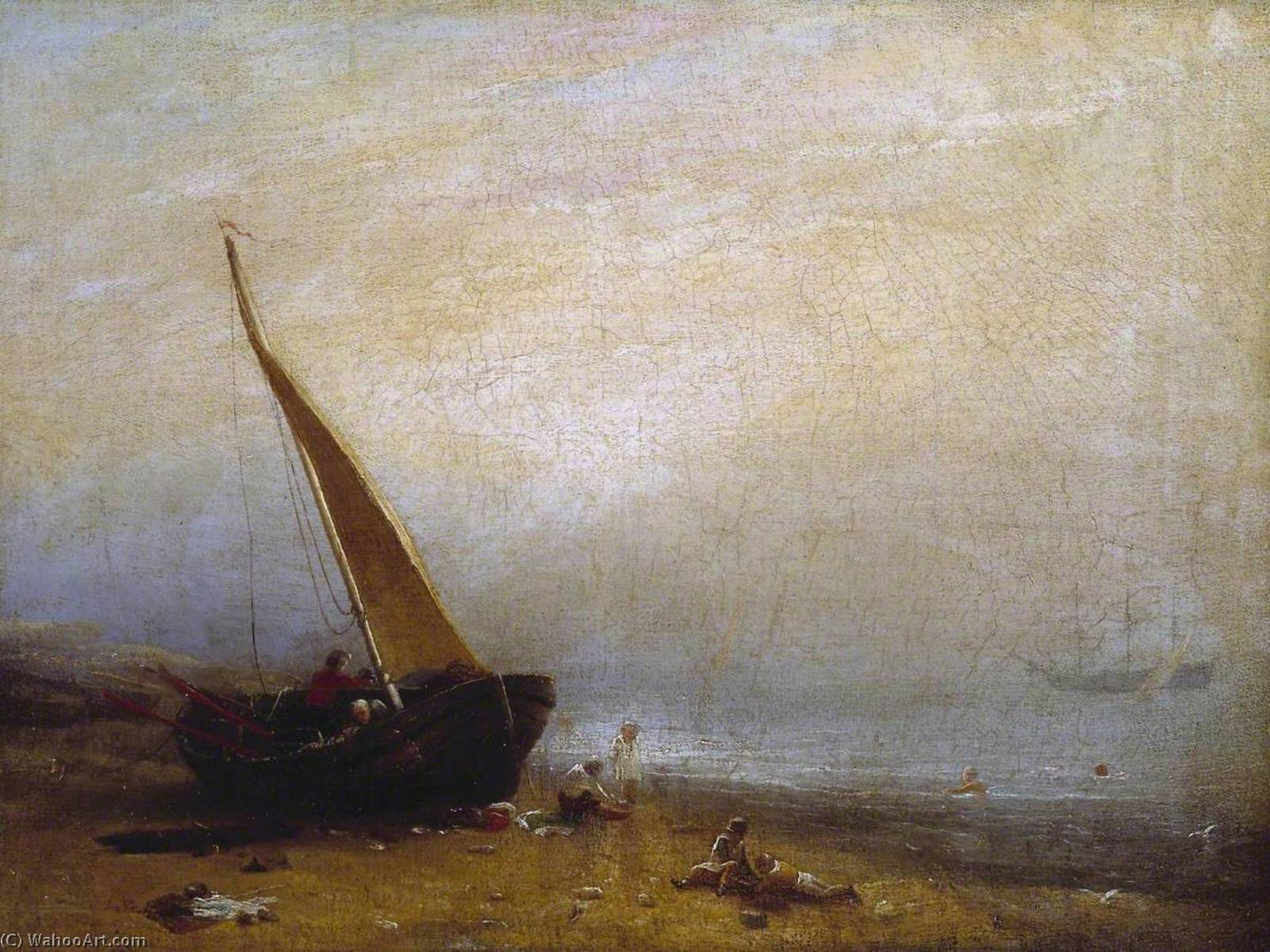 一个 大海  岸 , 油画 通过 William Mulready The Younger (1786-1863, Ireland)