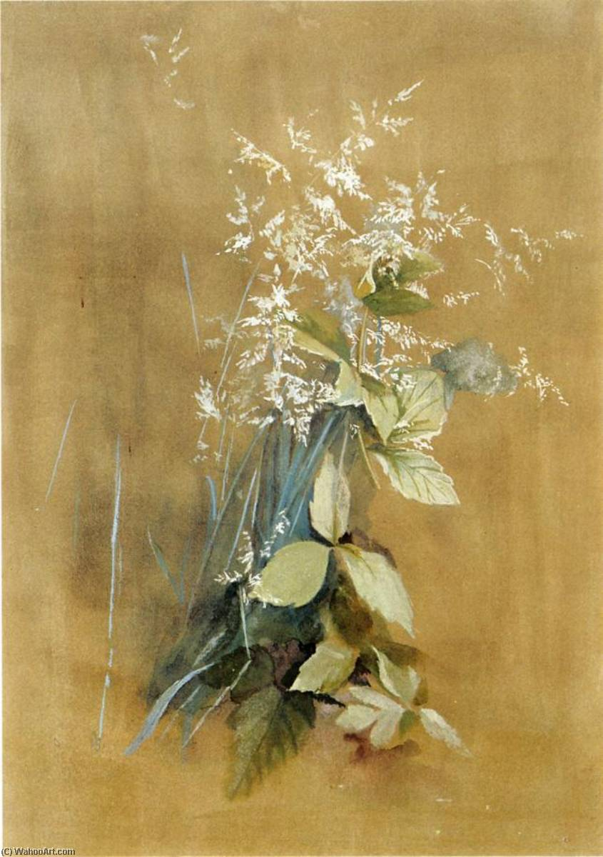 草 和  毒  常春藤 , 水粉画 通过 Fidelia Bridges (1834-1923, United States)