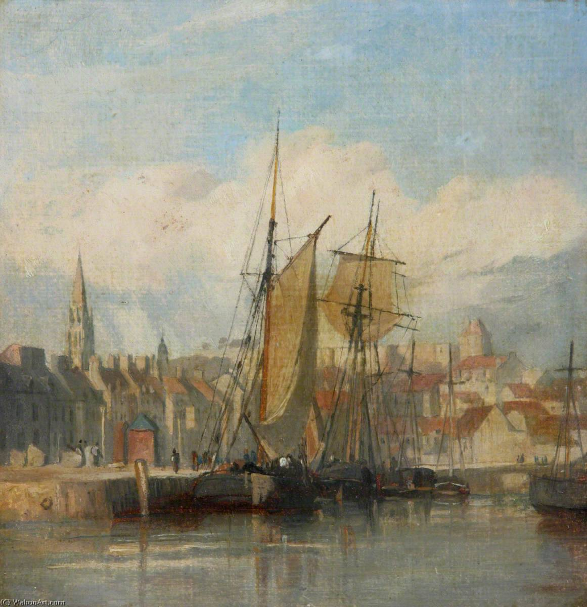 顺序 手工畫 : 迪耶普港 通过 Richard Parkes Bonington (1802-1828, United Kingdom) | WahooArt.com