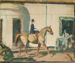 Alfred James Munnings - 研究 'Our 相互 朋友 Horse' ( 直肠 )