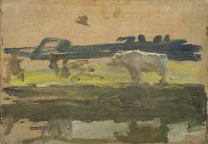 Alfred James Munnings - 研究 白  公牛