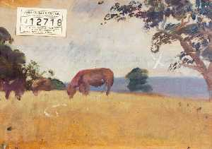 Alfred James Munnings -  研究 牛  放牧  反面