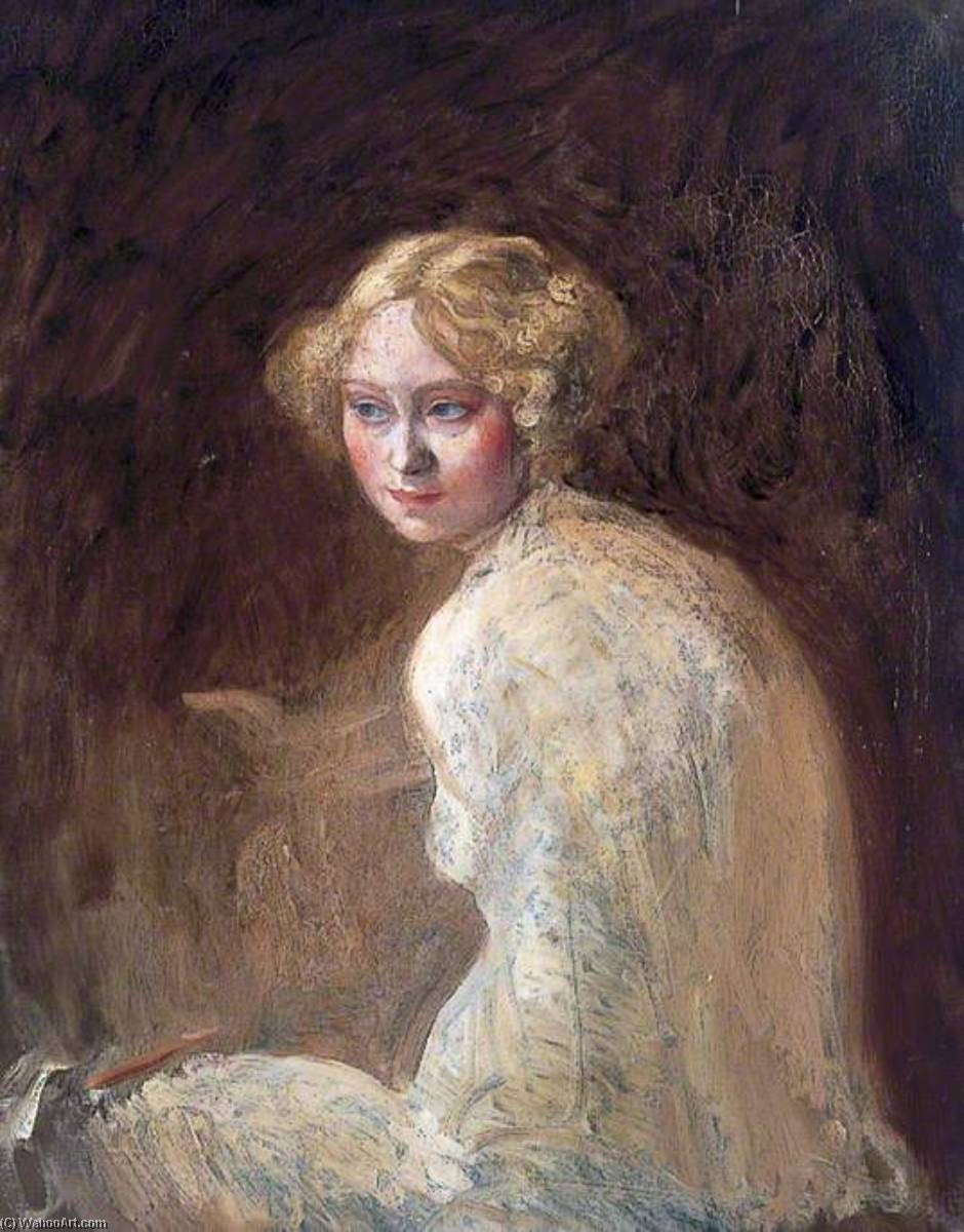 头  一  女孩, 油画 通过 William Newenham Montague Orpen (1878-1931, Ireland)