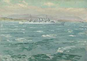 Stephen Bone - HMS 'Norfolk' 在 斯卡帕 流