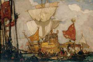 Frank William Brangwyn - 伊丽莎白女王 去 船上 的 'Golden Hind' 在 德普特福德