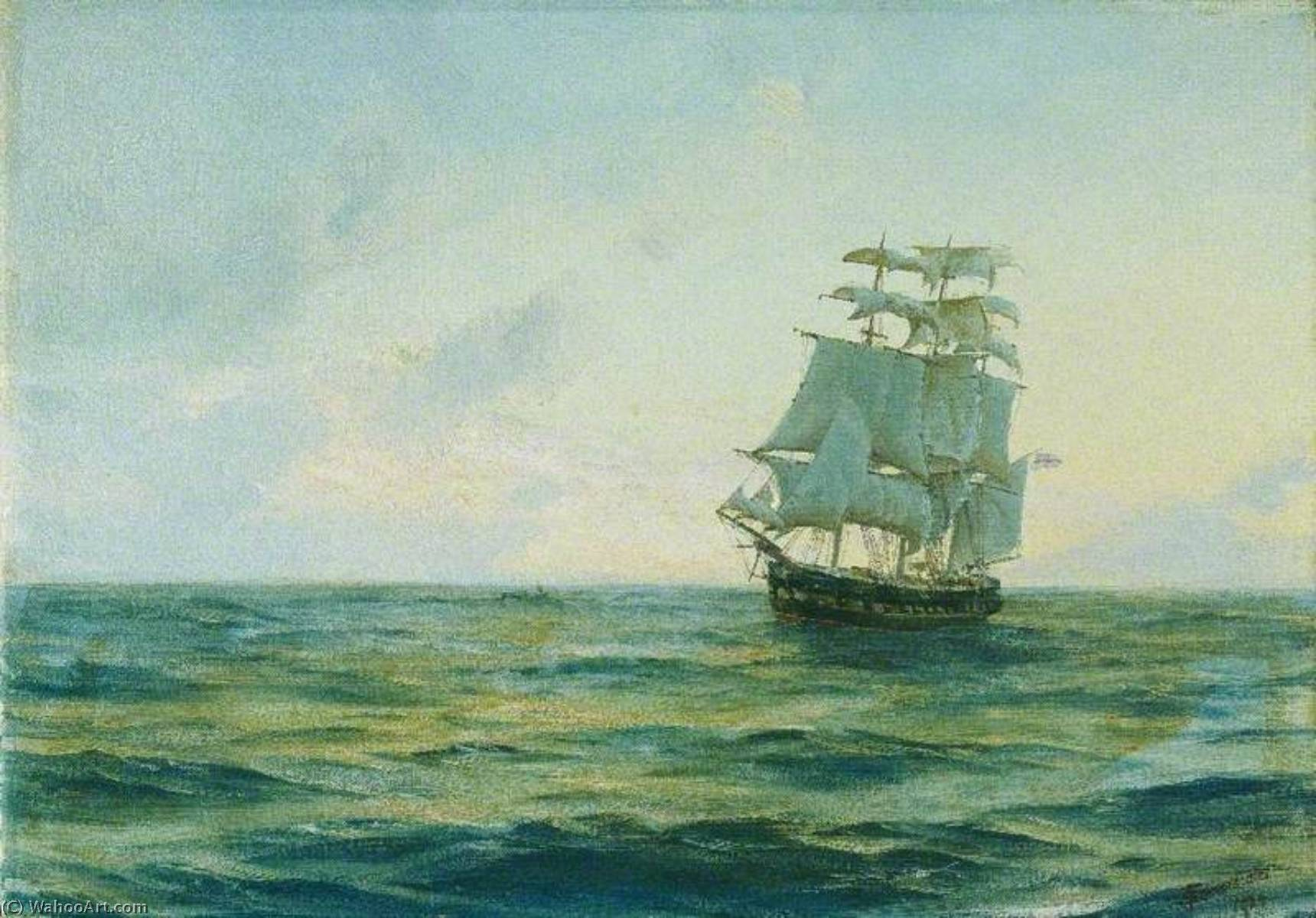 HMS 'Clio', 油画 通过 Thomas Jacques Somerscales (1842-1927)