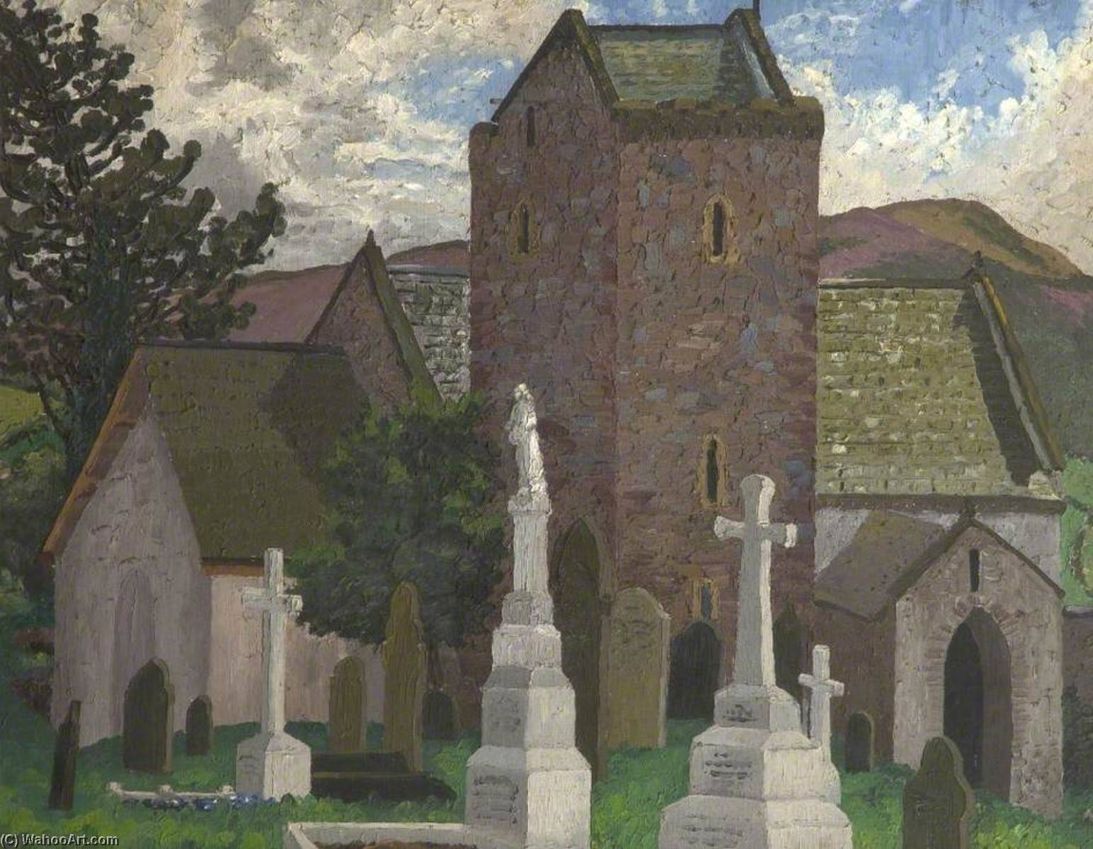 Llangennith 教会 , 斯旺西, 1930 通过 Cedric Lockwood Morris (1889-1982, United Kingdom) | 幀打印 | WahooArt.com