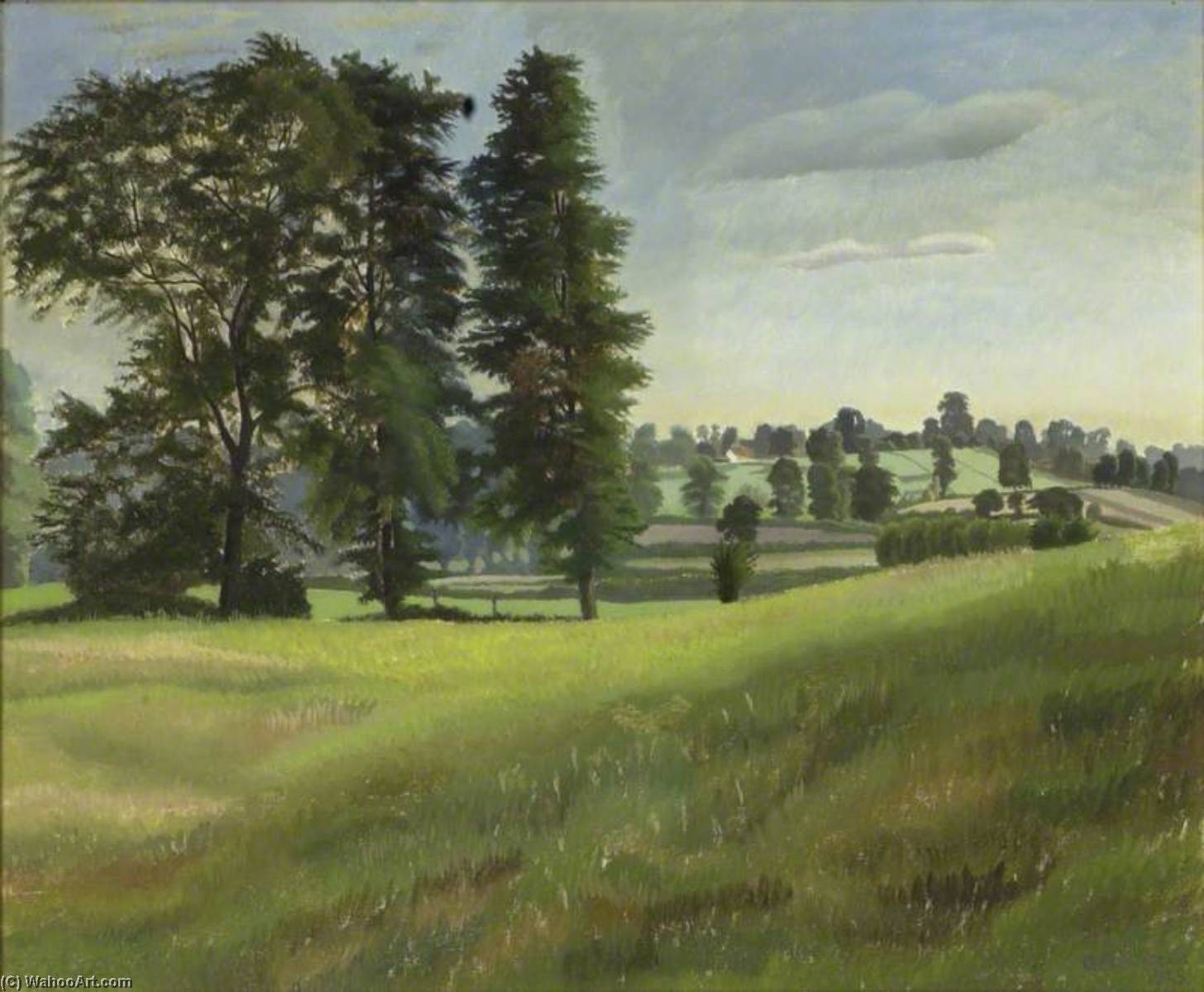 榆树 树 在 Garsington, 1925 通过 Gilbert Spencer (1892-1979, United Kingdom) | 畫再現 | WahooArt.com