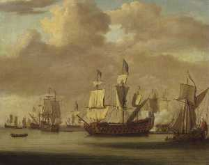 Willem Van De Velde The Elder - 平静 HMS 'Royal James' , 一个 王室的 游艇 和别的 航运