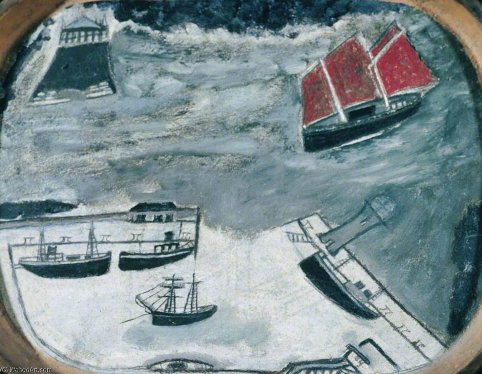 大篷车 接近  一个  海港 , 1930 通过 Alfred Wallis (1855-1942, United Kingdom) | WahooArt.com