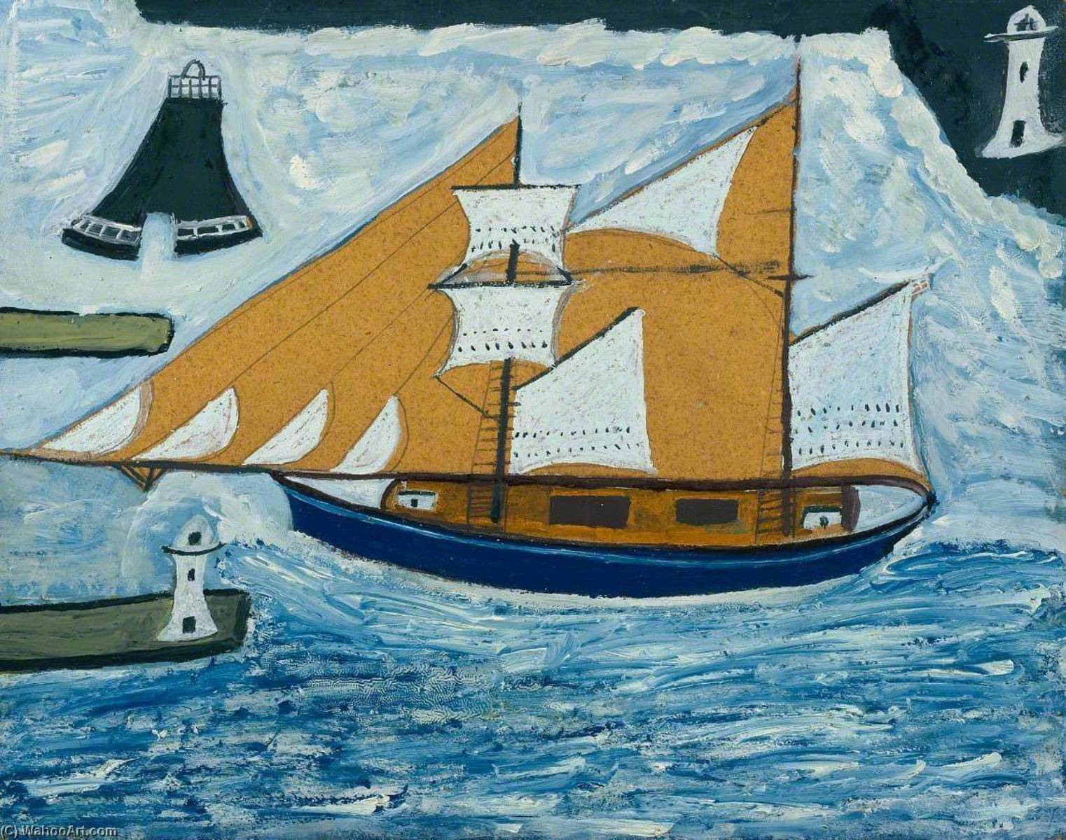 蓝色 船 , 1934 通过 Alfred Wallis (1855-1942, United Kingdom) | 幀畫冊專輯 | WahooArt.com