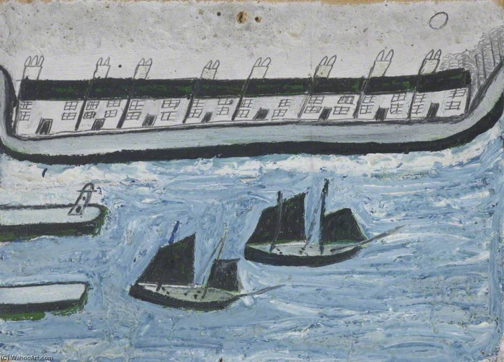 房屋  在 Water`s 边缘 ( 波思利文 ), 1928 通过 Alfred Wallis (1855-1942, United Kingdom) | 幀畫冊專輯 | WahooArt.com