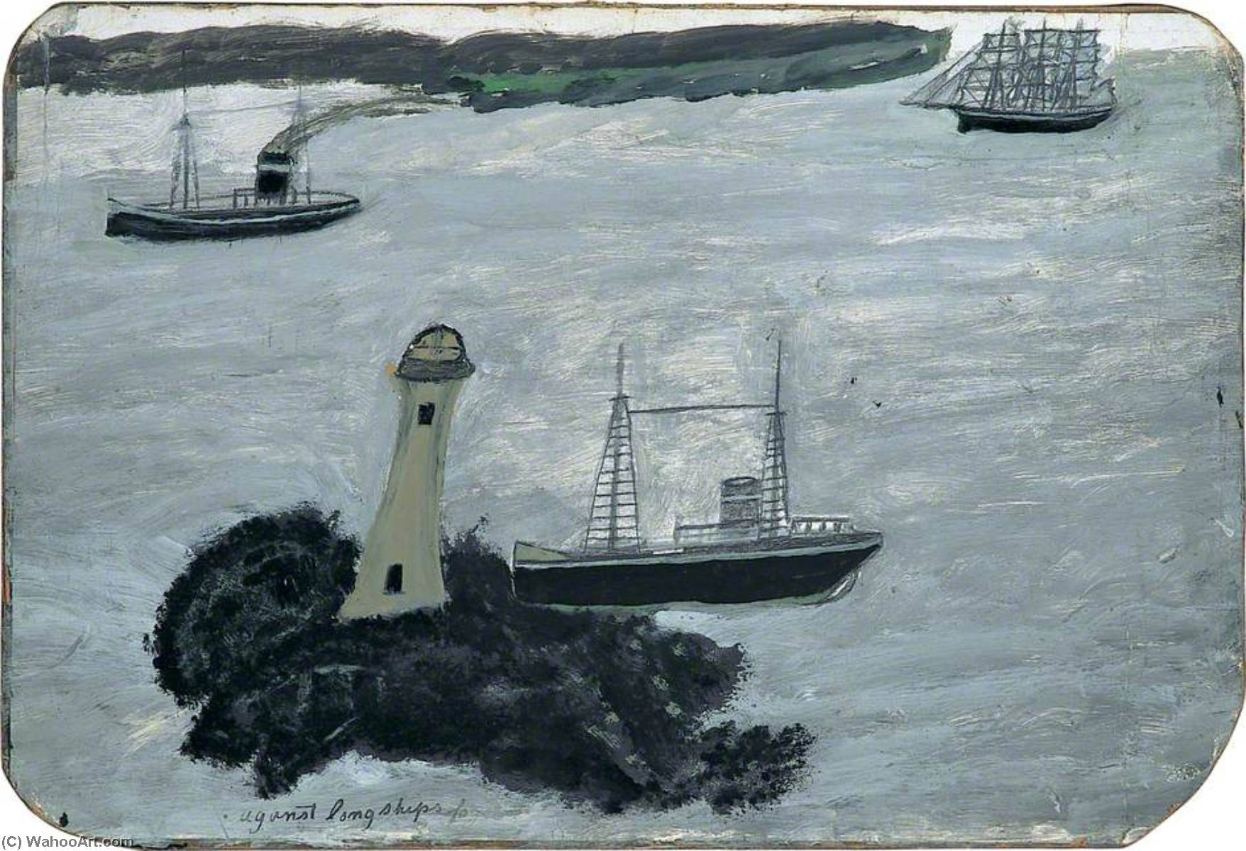 对 长船  雾  直肠 , 1938 通过 Alfred Wallis (1855-1942, United Kingdom) | WahooArt.com