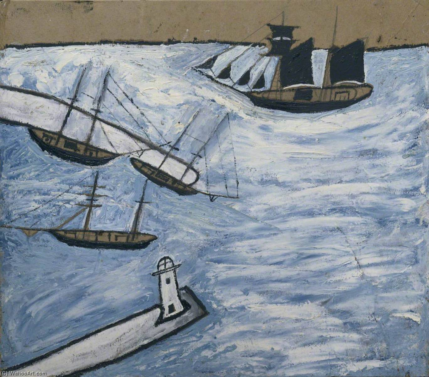 圣艾夫斯 海港  康沃尔  通过 Alfred Wallis (1855-1942, United Kingdom) | WahooArt.com