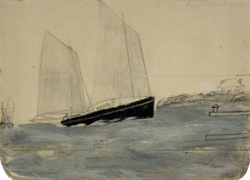 两 三桅 Yawl, 石墨 通过 Alfred Wallis (1855-1942, United Kingdom)