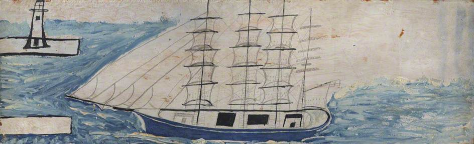 四 三桅  帆船  船  和  灯塔  通过 Alfred Wallis (1855-1942, United Kingdom) | WahooArt.com