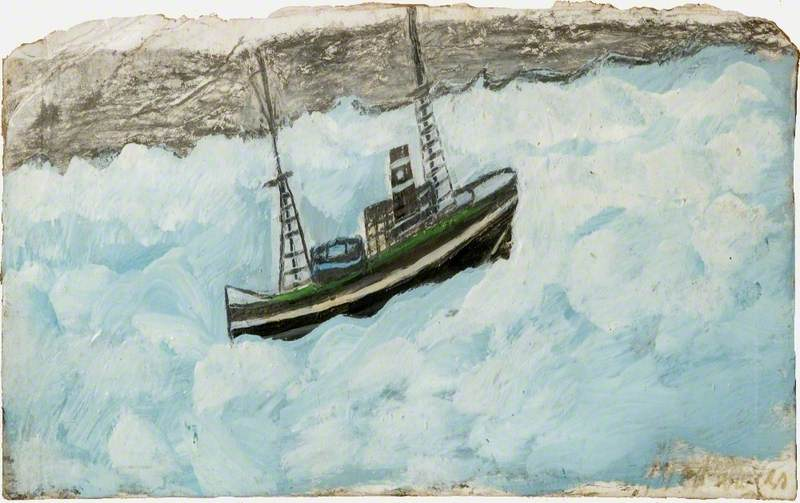 钓鱼  船 通过 Alfred Wallis (1855-1942, United Kingdom) | WahooArt.com