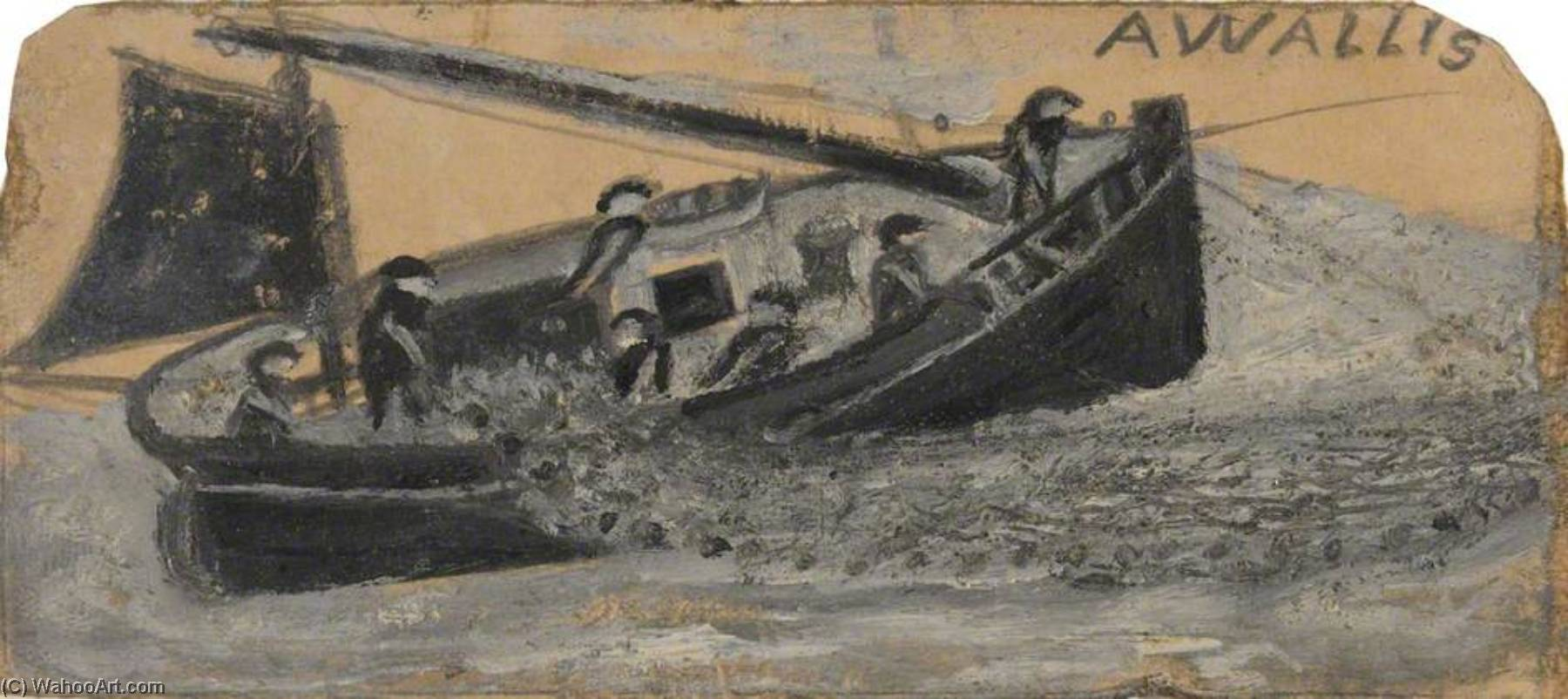 船 渔民 出租 出 网 , PZ11 , 的 'Flying Scud', 油 通过 Alfred Wallis (1855-1942, United Kingdom)