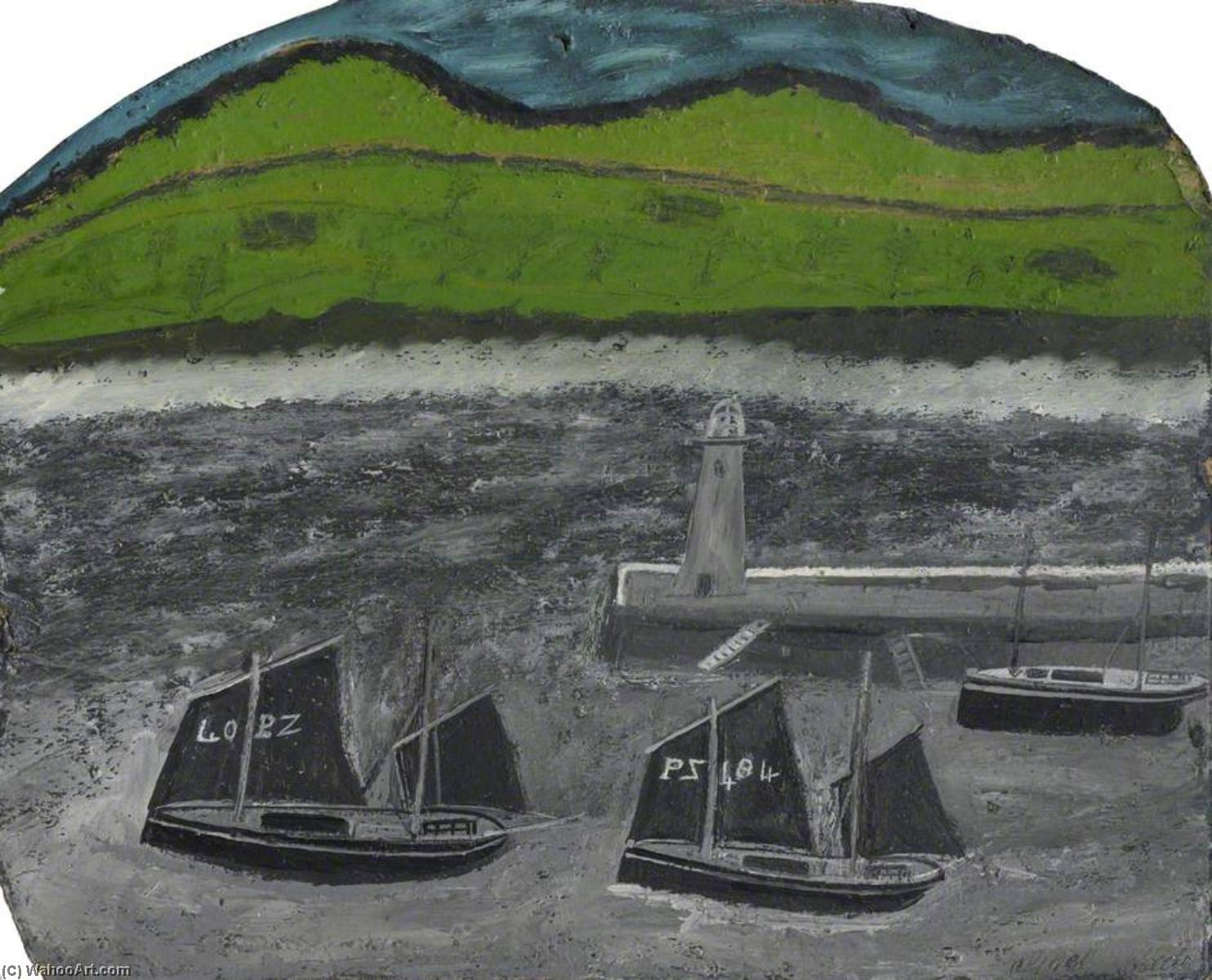 PZ 帆船 由 码头 通过 Alfred Wallis (1855-1942, United Kingdom) | WahooArt.com