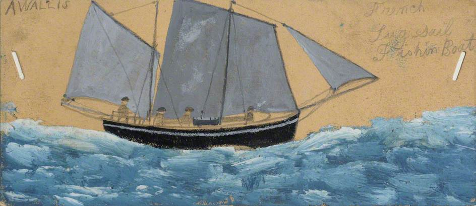 法国 Lugsail 钓鱼  船 通过 Alfred Wallis (1855-1942, United Kingdom) | 畫再現 | WahooArt.com
