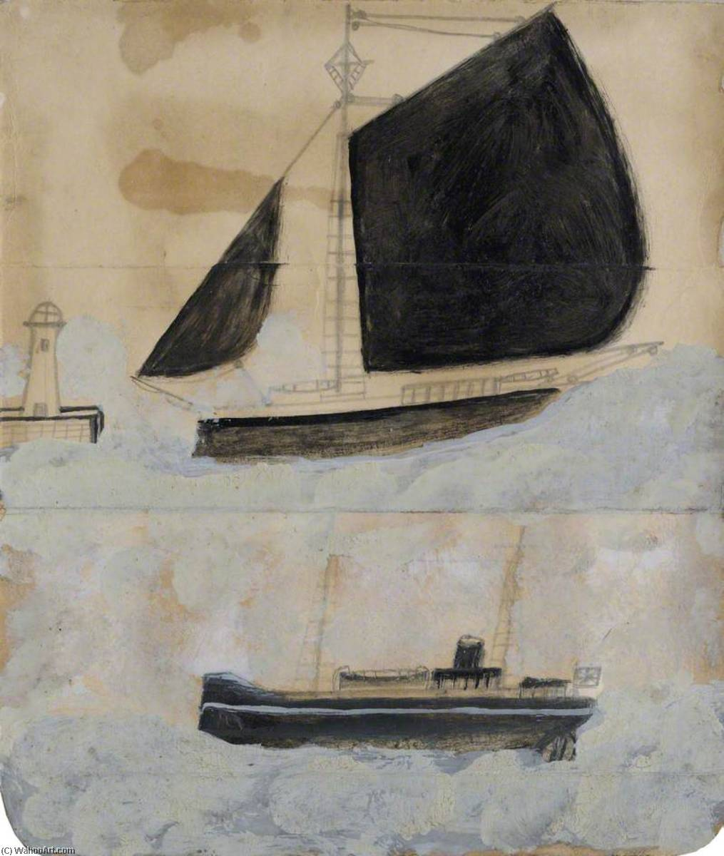 两 船舶  通过 Alfred Wallis (1855-1942, United Kingdom) | WahooArt.com