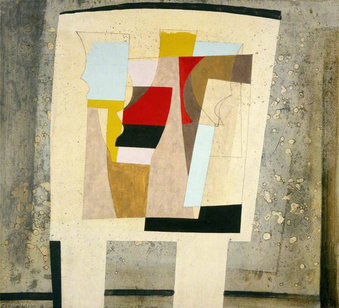 14 进军 1947 (  仍 life – 斑 窗帘 ), 油 通过 Ben Nicholson (1894-1982, United Kingdom)