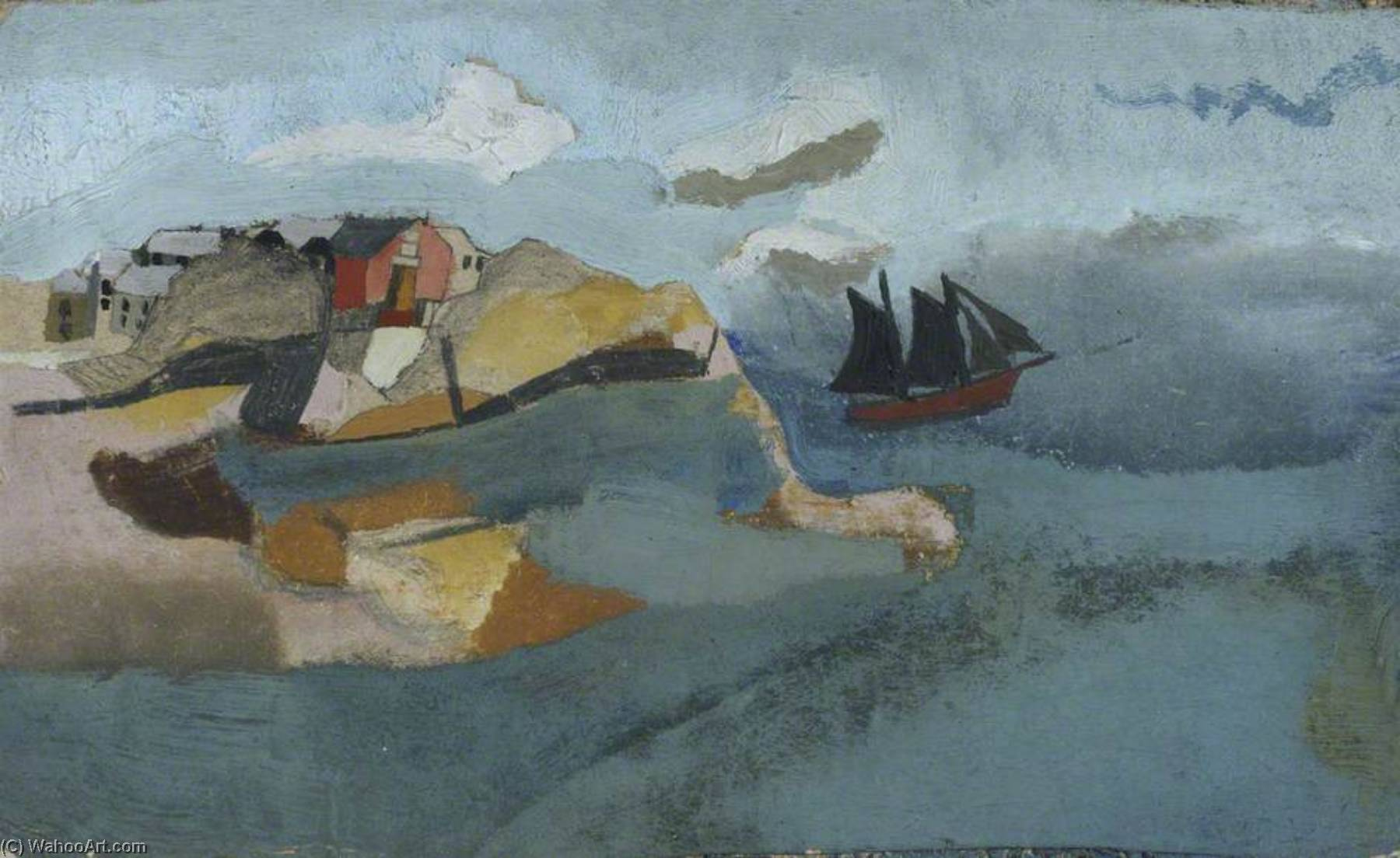 c . 1930 ( 康沃尔 端口 ), 油 通过 Ben Nicholson (1894-1982, United Kingdom)