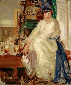 Francis Campbell Boileau Cadell - 佩吉 在  蓝色  和  白