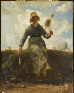 Jean-François Millet - 香格里拉fileuse , chevrièreauvergnate