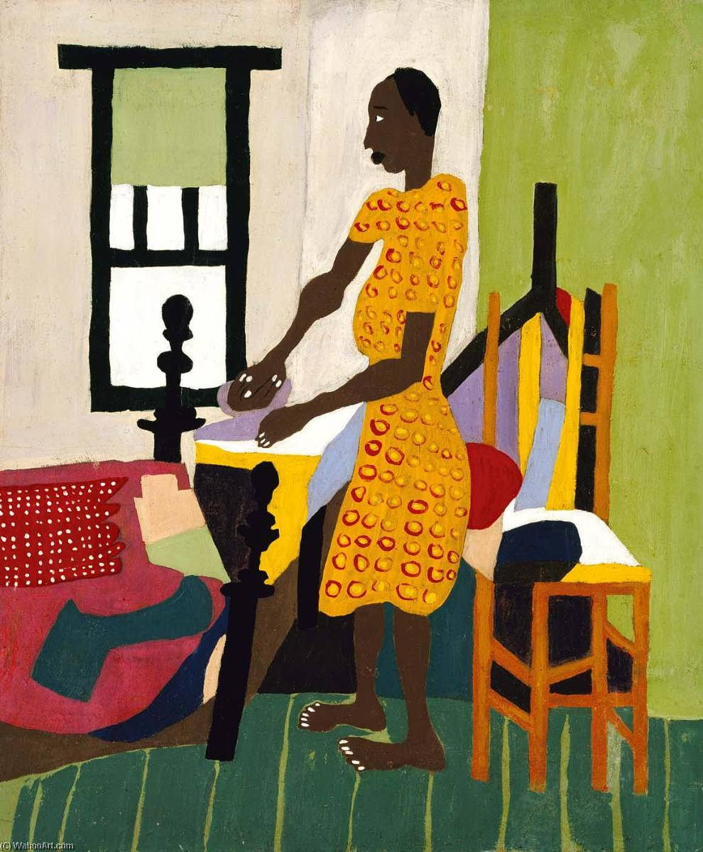 女性  熨衣服, 1944 通过 William Henry Johnson (1901-1970, United States) | 幀打印 | WahooArt.com