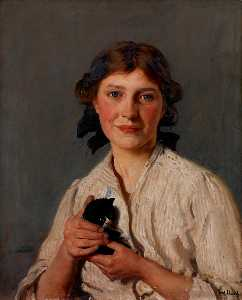 Frederick William Elwell - 女孩与一个 小猫