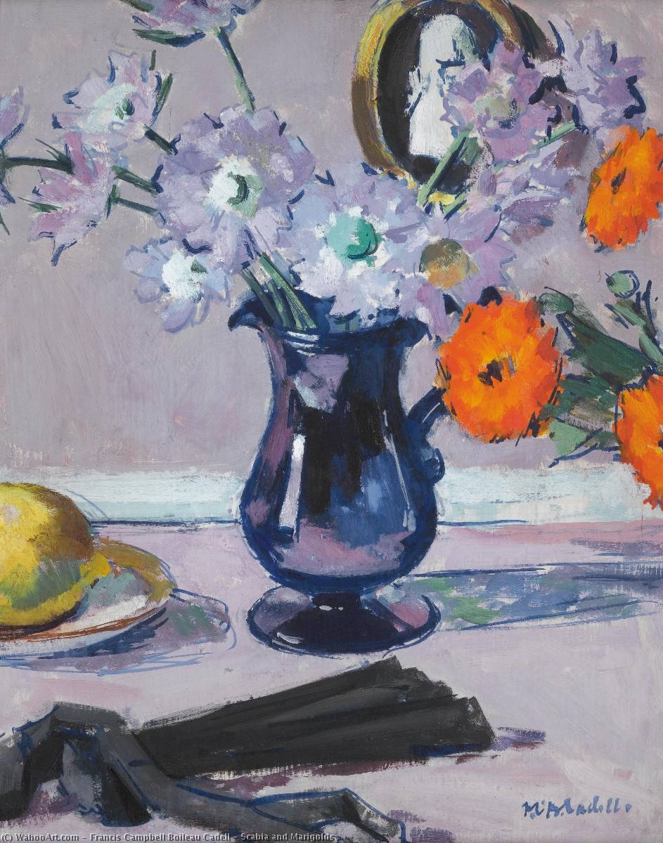 Scabia 和金盏花, 油在面板上 通过 Francis Campbell Boileau Cadell (1883-1937)