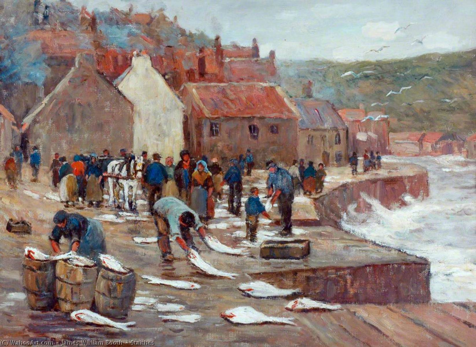 Staithes, 1920 通过 James William Booth | 傑作拷貝 | WahooArt.com