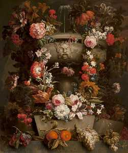 Gaspar Peeter De Verbruggen The Younger - 静物 花儿  在  一个  瓮