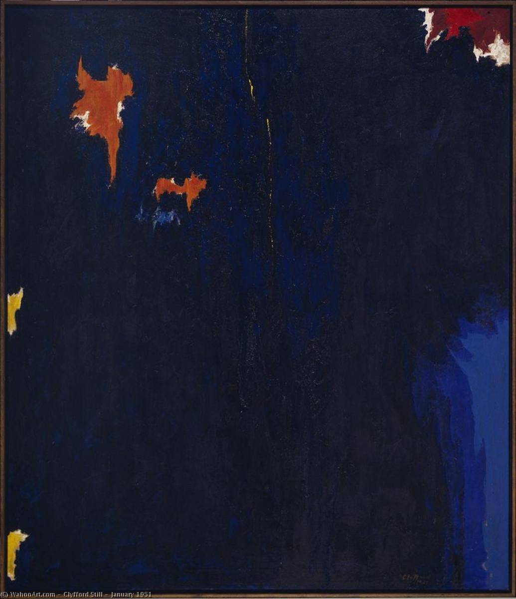 一月 1951  , 油画 通过 Clyfford Still (1904-1980, United States)